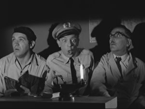 "Goober, Barney and Floyd conduct a seance in ""The Andy Griffith Show."""