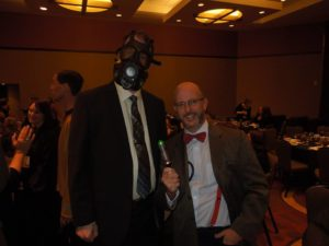 "Me at last year's ACFW genre banquet, dressed as the ""Are You My Mummy"" boy."