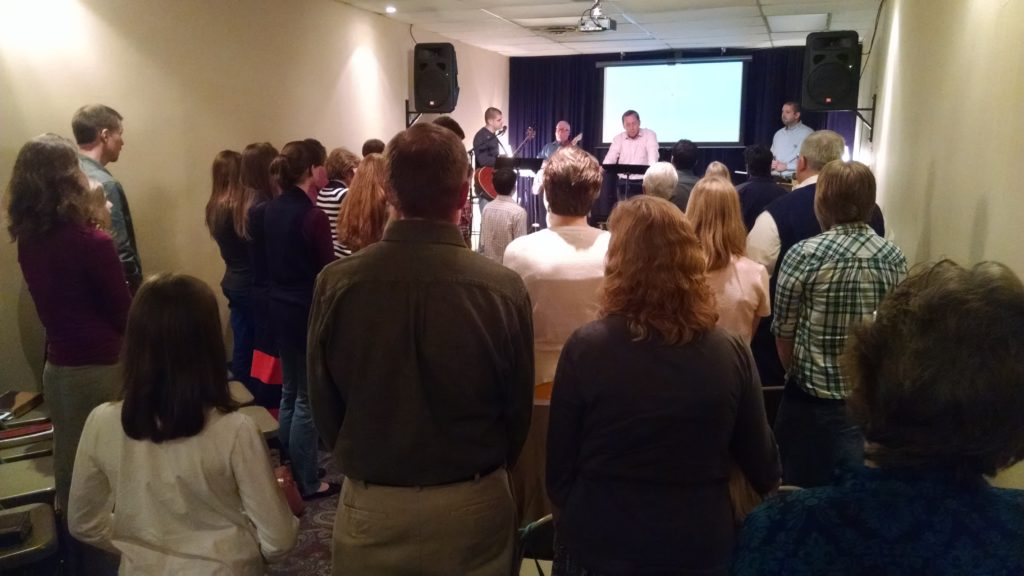 Providence Community Church on its last Sunday (Oct. 26, 2014) in a too-small space.