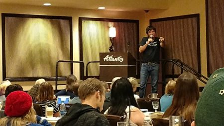 Ted Dekker speaking at the 2017 Realm Makers conference in Reno, Nevada.