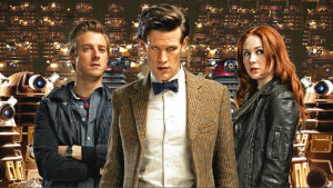 Current Doctor Who lead Matt Smith, with married man Rory Williams and married woman Amy Williams (née Pond).