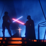 Luke Skywalker confronts Darth Vader in the climax of