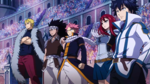 From left: Laxus, Gajeel, Natsu, Erza, and Gray.